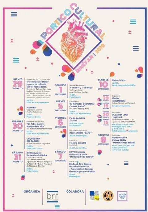 Cartel del Pórtico Cultural Binéfar 2019