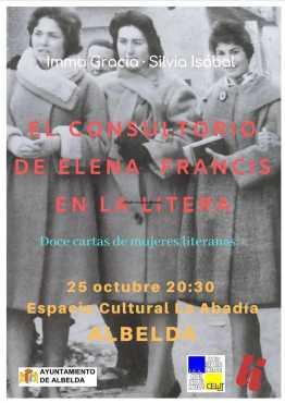 Cartel de la conferencia «El consultorio de Elena Francis en la Litera» en Albelda