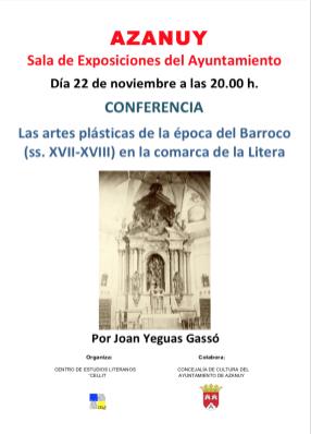 Cartel de la conferencia «Las artes plásticas de la época del barroco (ss. XVII-XVIII) en la comarca de la Litera»