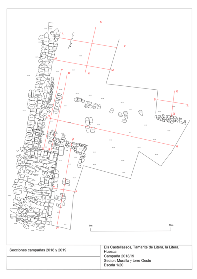 Croquis, sector murallas y torre Oeste