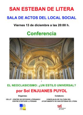 Cartel de la conferencia «El neoclasicismo: ¿un estilo universal?»