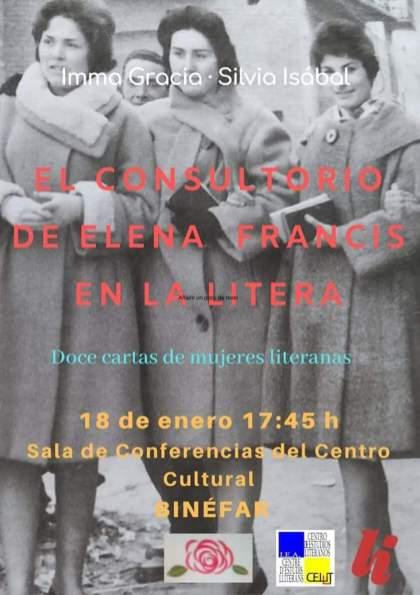 Cartel de la conferencia «El consultorio de Elena Francis en la Litera» en Binéfar