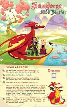 Cartel de la festividad de San Jorge 2020 Binéfar (Concejalía de juventud y cultura del Ayuntamiento de Binéfar)