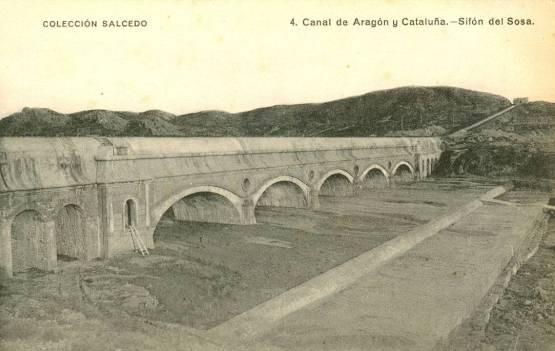Canal de Aragón y Cataluña: el sifón del Sosa (postal Salcedo, fondo CELLIT)