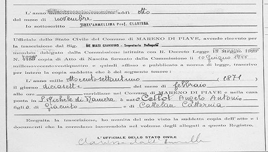 italian birth certificate record italy