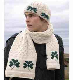 Irish Wool Shamrock Hat and Scarf