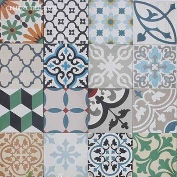 encaustic cement tile patchwork random