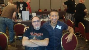 Brian Keene and Jonathan Janz cuddle up at the 2015 Scares That Care Convention. (Photo by Mark Sieber)