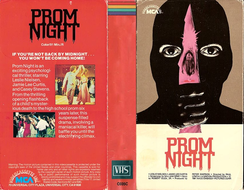 Prom Night video cover, showing someone in a black mask holding a knife