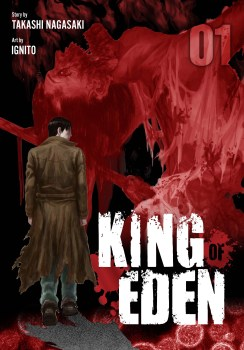 cover of King of Eden volume 1, showing a man in a trenchcoat with his back to us