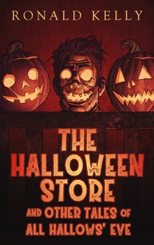 Cover of the book The Halloween Store by Ronald Kelly. Features three jack o lanterns that have been carved for Halloween. But one of them is a human face! GASP!
