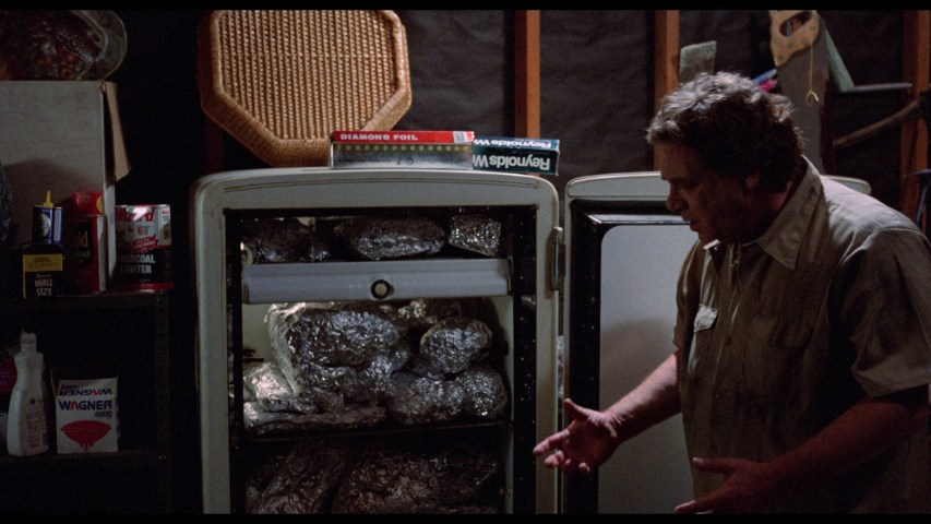 photo depicting a scene from Microwave Massacre, showing Jackie Vernon with some leftovers