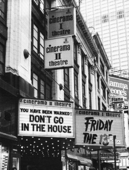 photo of movie theater marquee showing Don't Go in the House and Friday the 13th