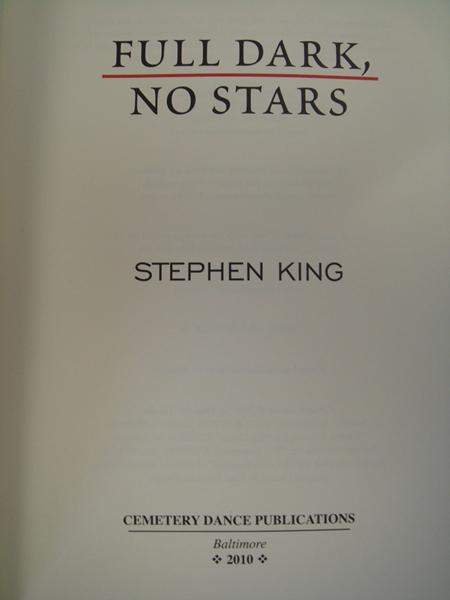 Full Dark, No Stars by Stephen King (2010, Hardcover)