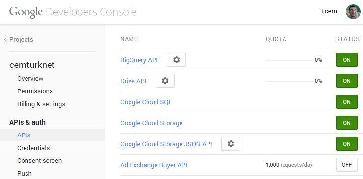Drive API yi ON konumuna getirin