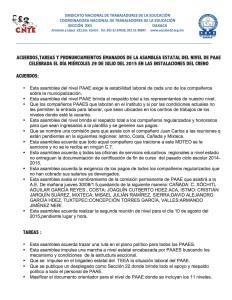 Acuerdos, Tareas y Pronunciamientos de la Asamblea de Nivel de PAAE 29 julio 2015(1:2)