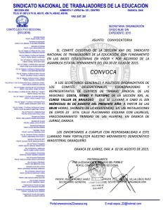 Convocatoria para el curso taller regiones Costa,Istmo y Tuxtepec el 05 de agosto de 2015