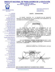 Convocatoria para la Asamblea Plenaria Permanente el 04 de agosto de 2015
