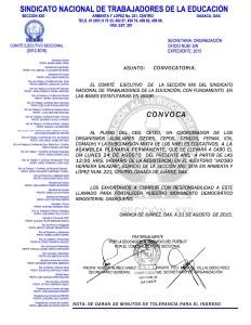 Convocatoria para la Asamblea Plenaria Permanente el 24 de agosto de 2015