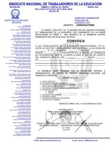 Convocatoria para la ronda de Asambleas Delegacionales el 06 de agosto de 2015