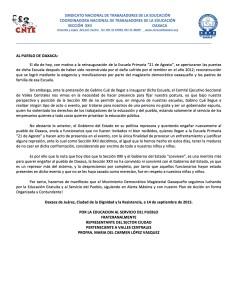Comuncado - AL PUEBLO DE OAXACA - 14 septiembre 2015