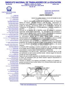 Comunicado para Jefes de zona, Supervisores y Directores del MDTEO 03 septiembre 2015