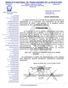 Convocatoria para la Actividad en Tehuantepec el 19 de octubre de 2015
