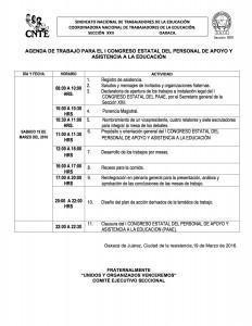 Agenda de trabajo para el I Congreso Estatal de PAAE marzo 2016