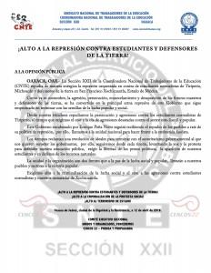 Boletín - Alto a la persecución de estudiantes normalistas  -  12 de abril de 2016