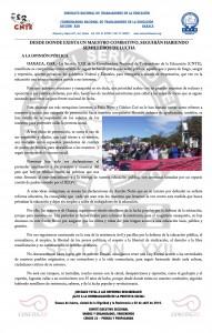 Boletín - Desde donde exista un maestro combativo seguirán habiendo semilleros de lucha  -  2 de abril de 2016