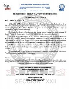Boletín - Sección XXII repudia -  16 de abril de 2016