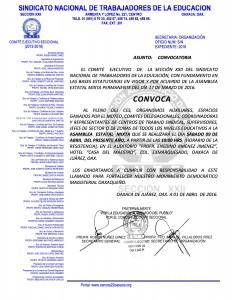 Convocatoria para la Asamblea Estatal Mixta el día sábado 09 de abril de 2016