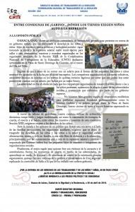 Boletín -  Entre consignas de Gabino dónde los tienes exigen niños alto a la represión- 01 mayo 2016