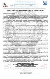 Boletín -  No hay derechos en un pais encabezado por dictadores- 01 mayo 2016