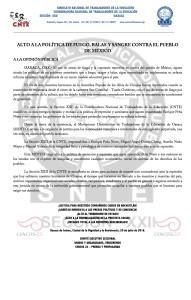 Boletín - ALTO A LA POLÍTICA DE FUEGO BALAS Y SANGRE CONTRA EL PUEBLO DE MEXICO- 20 julio 2016