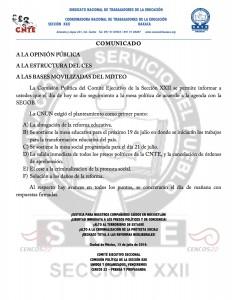 Boletín - Comunicado de CP - 13 julio 2016