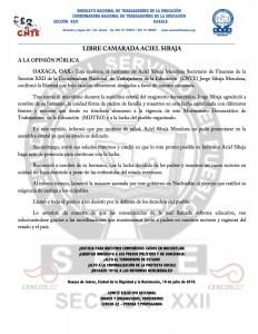 Boletín - LIBRE CAMARADA ACIEL SIBAJA- 16 julio 2016