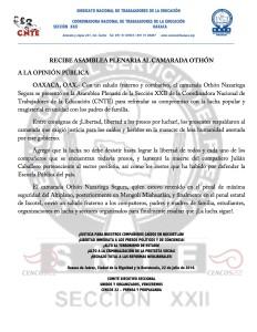 Boletín - Recibe Asamblea Plenaria a Othón- 22 julio 2016