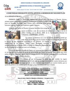 Boletín - COMUNIDAD MIGRANTE ENVÍA APOYOS A HERIDOS DE NOCHIXTLAN - 11 agosto 2016