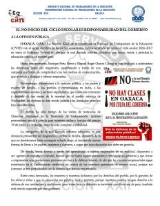Boletín - EL NO INICIO DEL CICLO ESCOLAR ES RESPONSABILIDAD DEL GOBIERNO - 22 agosto 2016(1:2)
