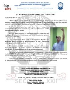 Boletín - LA RESISTENCIA SIGUE DE PIE MAGARIÑO LOPEZ - 12 agosto 2016