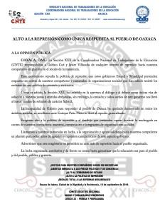 Boletín - ALTO A LA POLITICA DE REPRESION - 10 septiembre 2016