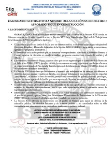 Boletín - CALENDARIO ALTERNATIVO A NOMBRE DE LA SECCIÓN - 12 septiembre 2016