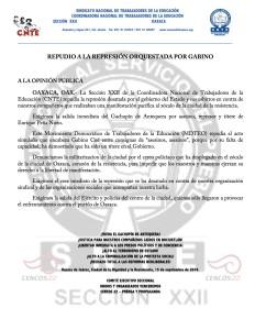 Boletín - REPUDIO A LA REPRESION ORQUESTADA POR GABINO- 15 septiembre 2016