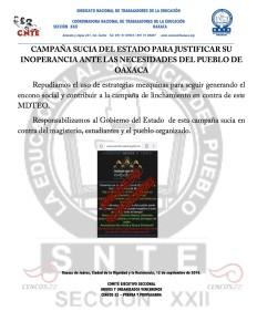 COMUNICADO POR CAMPAÑA EN CONTRA DE LA SECCIÓN XXII - 12 septiembre 2016