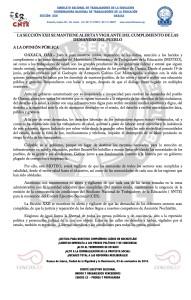 Boletín - LA SECCION XXII SE MANTIENE ALERTA Y VIGILANTE DEL CUMPLIMIENTO DE LAS DEMANDAS DEL PUEBLO - 3 noviembre 2016