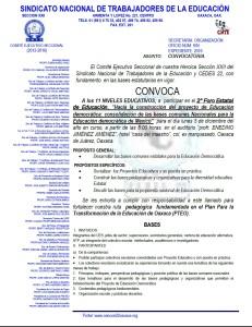 Convocatoria para el 2o Foro Estatal de Educación el 5 de diciembre de 2016(1:2)