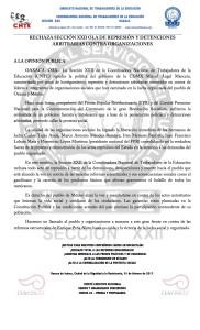 Boletín - RECHAZA SECCIÓN XXII REPRESIÓN Y DETENCIONES ARBITRARIAS CONTRA ORGANIZACIONES- 1 febrero 2017
