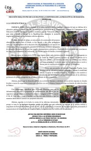 Boletín - SECCIÓN XXII EN PIE DE LUCHA POR LA DEFENSA DE LA INICIATIVA CIUDADANA POPULAR - 9 febrero 2017