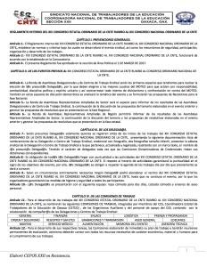 Reglamento interno del XIII Congreso Estatal Ordinario de la CNTE rumbo al  XIII Congreso Nacional Ordinario de la CNTE marzo de 2017